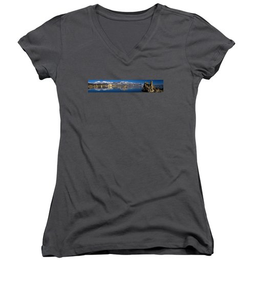 Mono Lake Pano Women's V-Neck T-Shirt (Junior Cut) by Wes and Dotty Weber