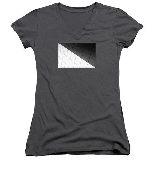 Monochrome Building Abstract 3 Women's V-Neck T-Shirt (Junior Cut) by John Williams