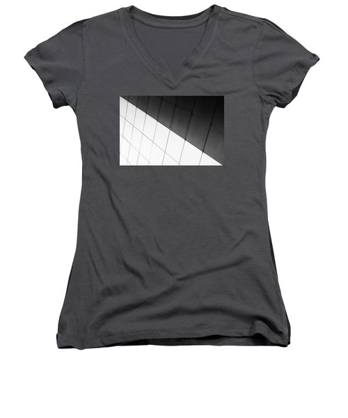 Monochrome Building Abstract 3 Women's V-Neck