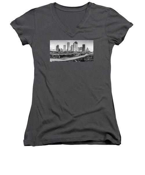 Monochrome Panorama Of Downtown Houston Skyline From Buffalo Bayou Park - Harris County Houston Texa Women's V-Neck