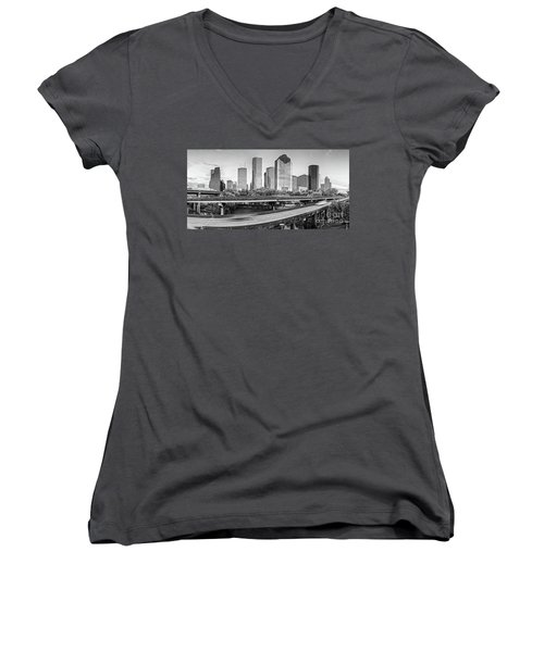 Monochrome Panorama Of Downtown Houston Skyline From Buffalo Bayou Park - Harris County Houston Texa Women's V-Neck (Athletic Fit)