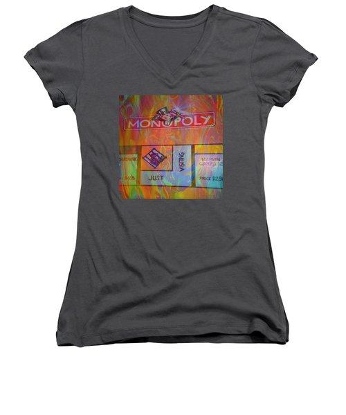 Monopoly Dream Women's V-Neck T-Shirt (Junior Cut) by Kevin Caudill