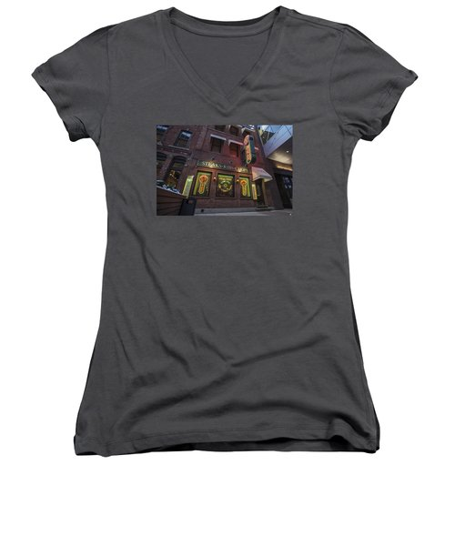Women's V-Neck T-Shirt (Junior Cut) featuring the photograph Monroe St Steakhouse by Nicholas Grunas