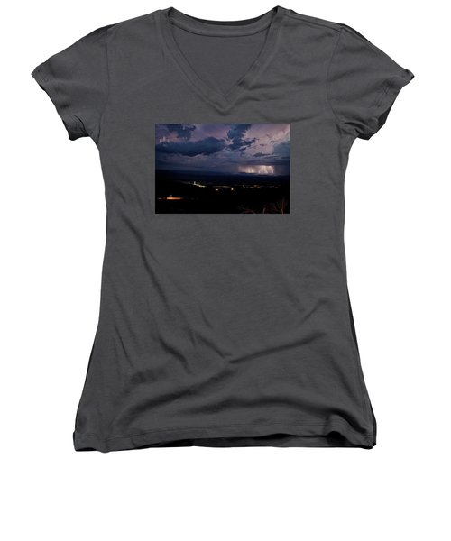Women's V-Neck T-Shirt (Junior Cut) featuring the photograph Monsoon Lightning Over Sedona From Jerome Az by Ron Chilston