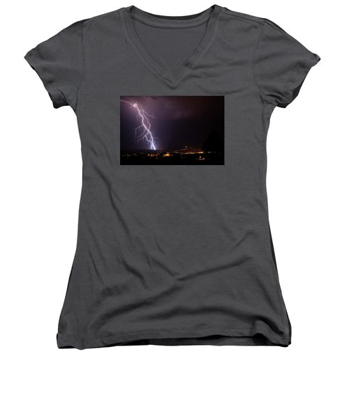 Women's V-Neck T-Shirt (Junior Cut) featuring the photograph Monsoon Storm by Ron Chilston