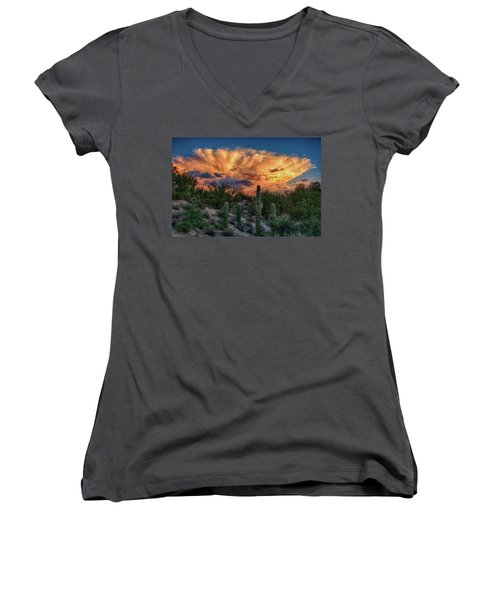 Monsoon Sunset Women's V-Neck (Athletic Fit)