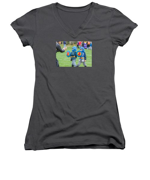 Monster Dash 11 Women's V-Neck T-Shirt (Junior Cut) by Brian MacLean