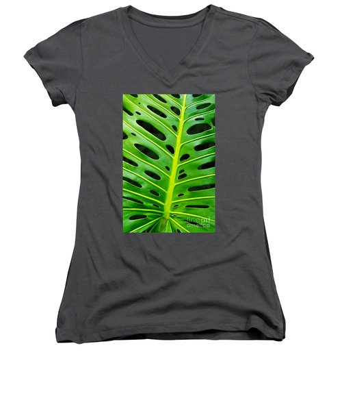 Monstera Leaf Women's V-Neck T-Shirt (Junior Cut) by Carlos Caetano