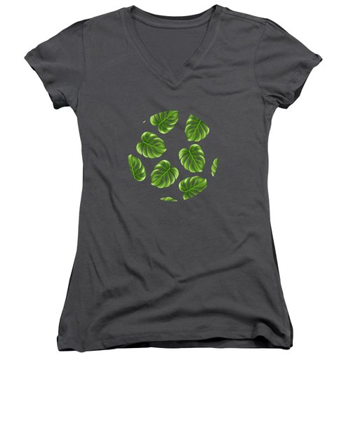 Monstera Leaves Greenery Tropical Aloha Bohemian Decor Women's V-Neck T-Shirt