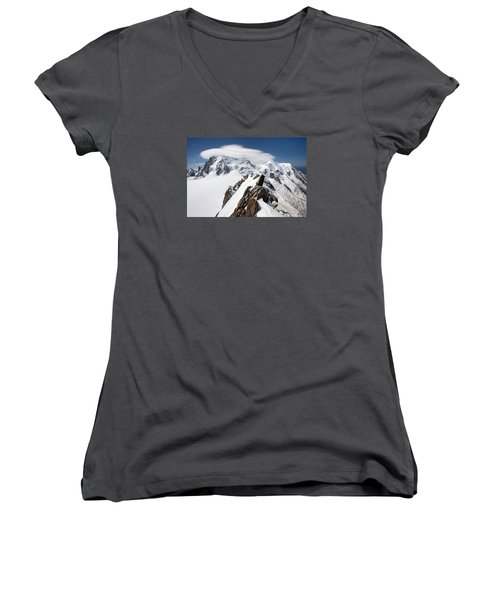 Mont Blanc And Ufo Women's V-Neck T-Shirt