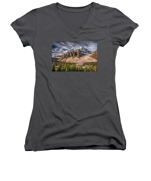 Women's V-Neck T-Shirt (Junior Cut) featuring the photograph Mont Crowfoot On The Icefield Parkway by Pierre Leclerc Photography