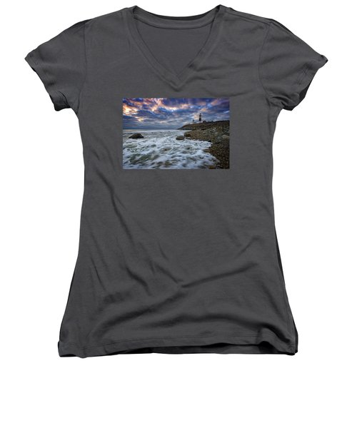 Montauk Morning Women's V-Neck T-Shirt (Junior Cut) by Rick Berk