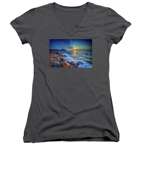 Montauk Sunrise Women's V-Neck (Athletic Fit)