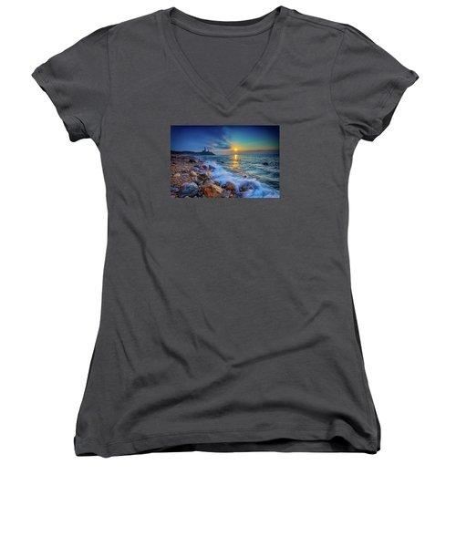 Montauk Sunrise Women's V-Neck T-Shirt (Junior Cut) by Rick Berk