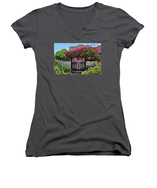 Monterey Charm Women's V-Neck T-Shirt (Junior Cut) by Gina Savage