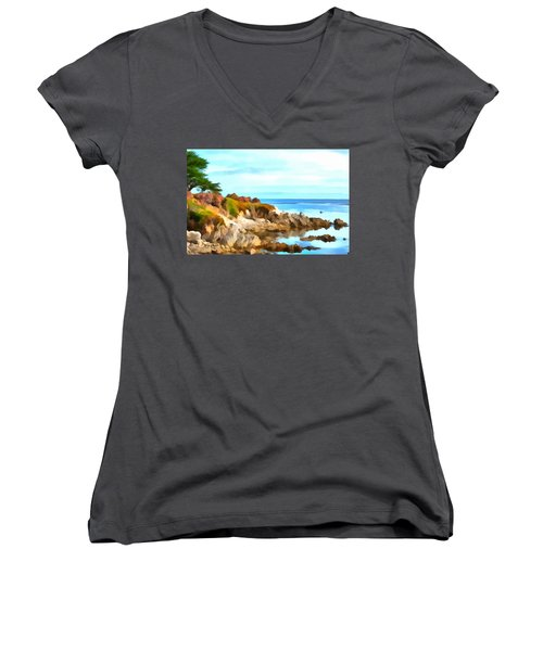 Women's V-Neck T-Shirt (Junior Cut) featuring the photograph Monterey Coastline Watercolor by Floyd Snyder