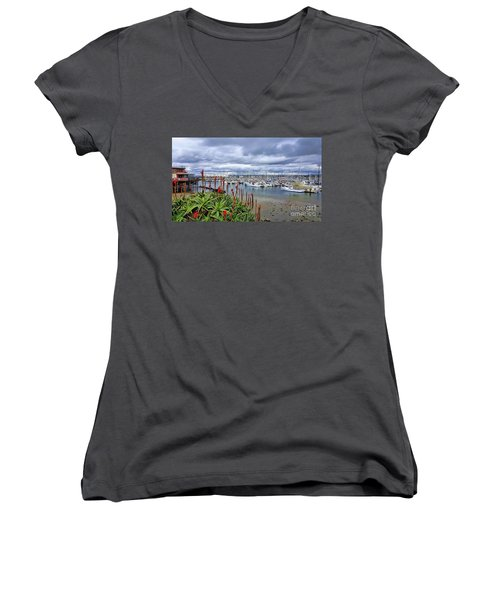 Monterey Marina Women's V-Neck T-Shirt (Junior Cut) by Gina Savage