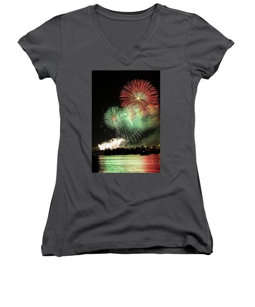Montreal-fireworks Women's V-Neck T-Shirt (Junior Cut) by Mircea Costina Photography