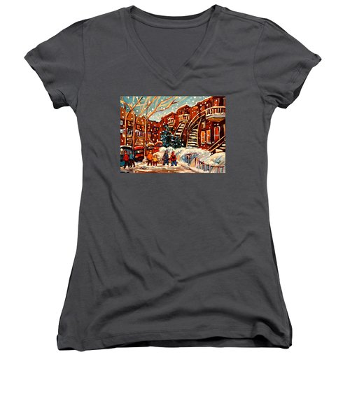 Montreal Street In Winter Women's V-Neck (Athletic Fit)