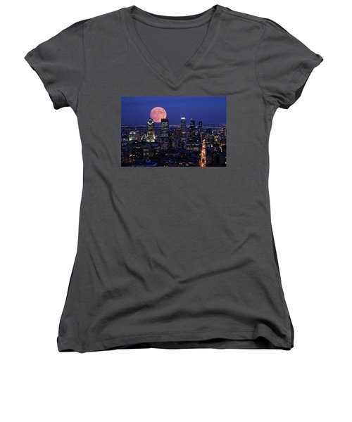 Women's V-Neck T-Shirt (Junior Cut) featuring the photograph Montreal Supermoon by Mircea Costina Photography