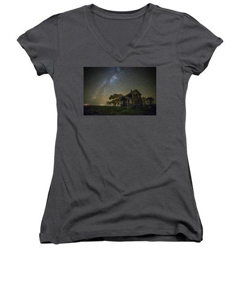 Women's V-Neck T-Shirt (Junior Cut) featuring the photograph Montrose Orionid by Aaron J Groen