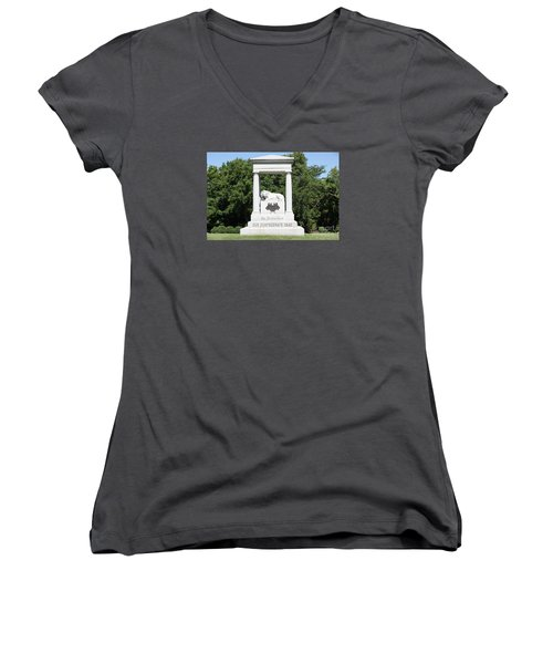 Monument At Higginsville   Missouri Women's V-Neck T-Shirt