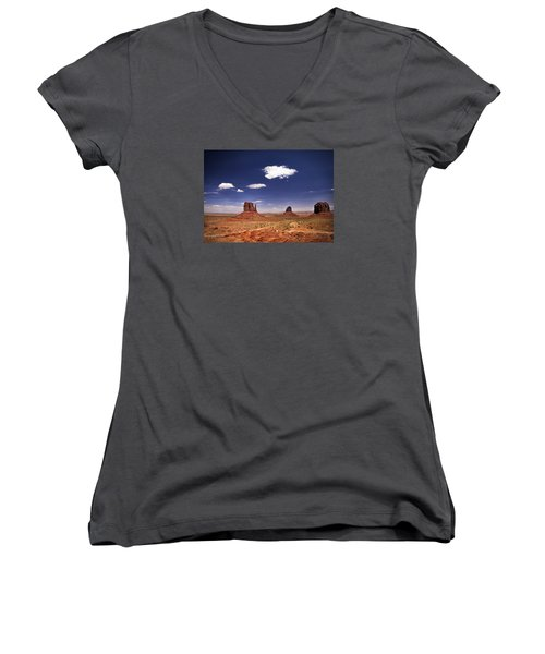 Women's V-Neck T-Shirt (Junior Cut) featuring the photograph Monument Valley by James Bethanis