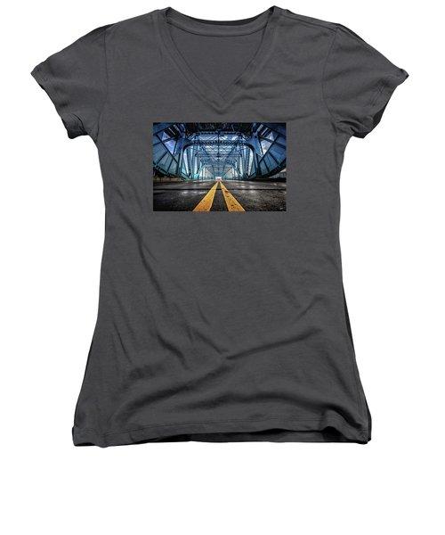 Monumental Market Street Women's V-Neck T-Shirt (Junior Cut) by Steven Llorca