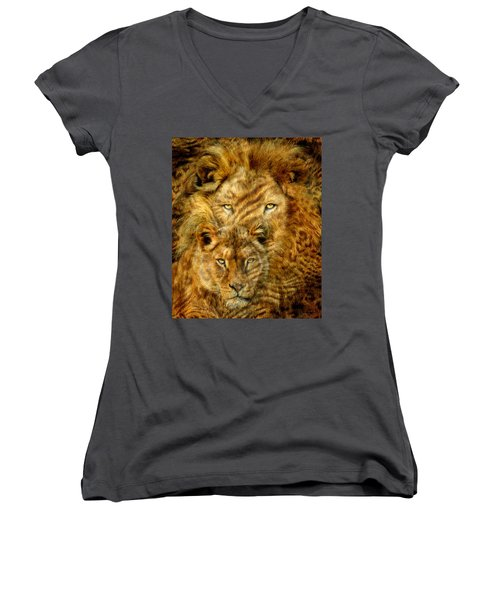 Women's V-Neck featuring the mixed media Moods Of Africa - Lions 2 by Carol Cavalaris