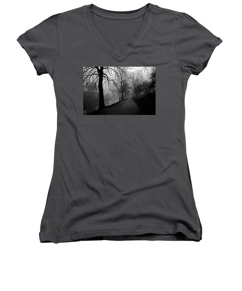 Moody And Misty Morning Women's V-Neck T-Shirt (Junior Cut) by Inge Riis McDonald