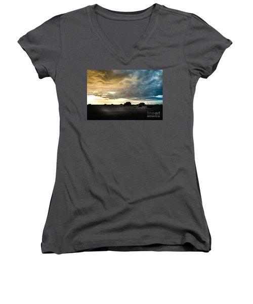 Moody Sky, Dungeness Beach  Women's V-Neck