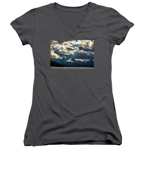 Moody Sunrays Over Glacier National Park Women's V-Neck (Athletic Fit)