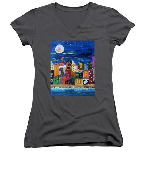 Moon And Sea Waves Women's V-Neck T-Shirt (Junior Cut) by Mary Carol Williams