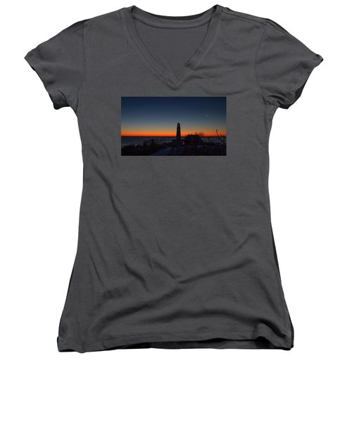 Moon And Venus - Headlight Sunrise Women's V-Neck