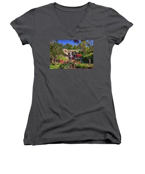Women's V-Neck T-Shirt (Junior Cut) featuring the photograph Moon Bridge And Maymont Falls by Rick Berk