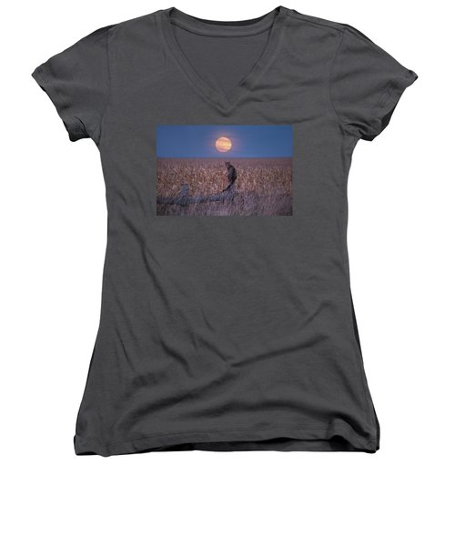 Moon Kitty  Women's V-Neck