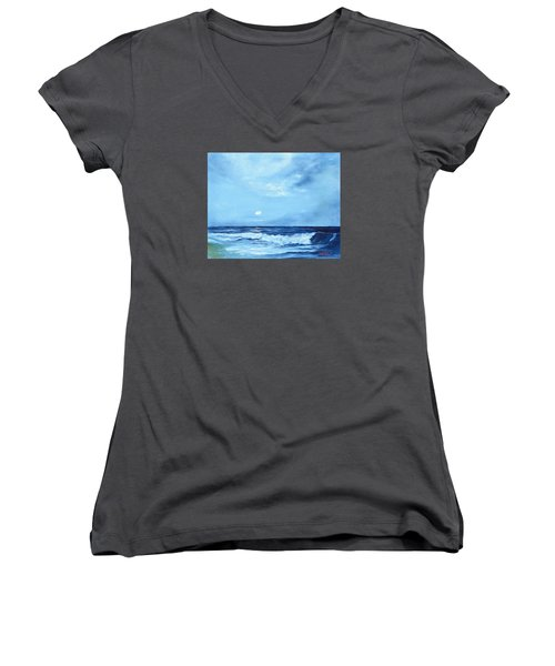 Moon Light Night Wave Women's V-Neck T-Shirt
