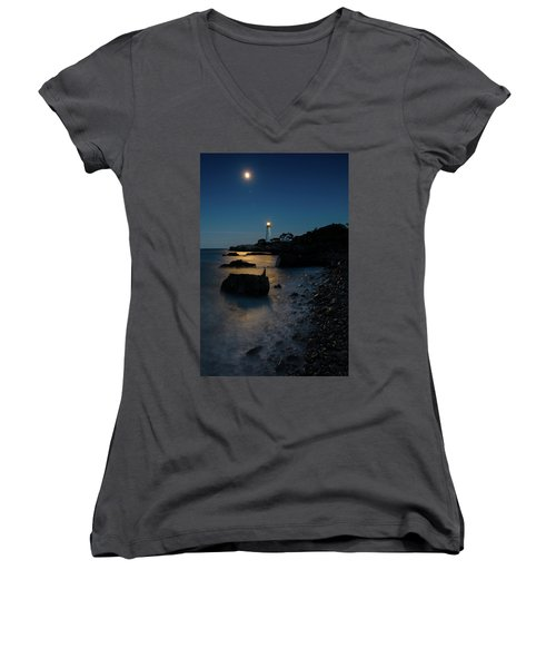 Women's V-Neck T-Shirt (Junior Cut) featuring the photograph Moon Light Over The Lighthouse  by Emmanuel Panagiotakis