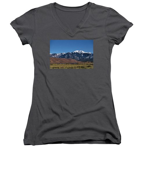Moon Lit Colorado Great Sand Dunes Starry Night  Women's V-Neck T-Shirt (Junior Cut) by James BO Insogna
