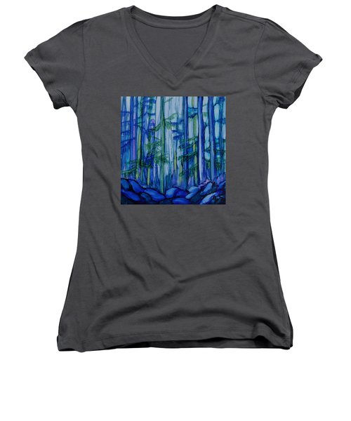 Moonlit Forest Women's V-Neck T-Shirt (Junior Cut) by Joanne Smoley