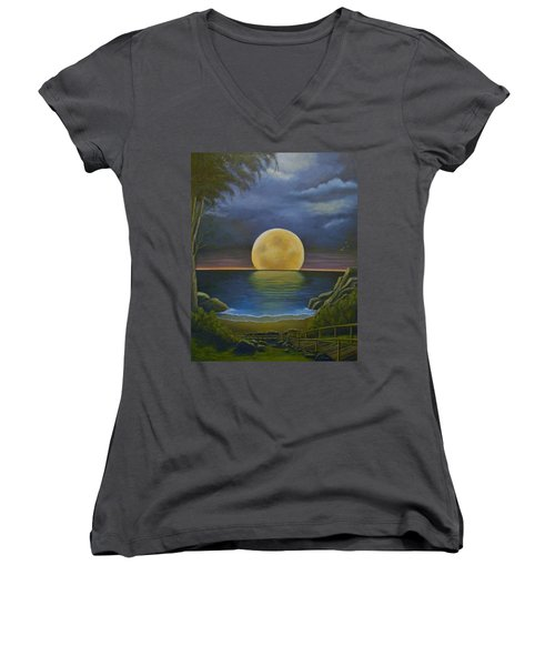 Moon Of My Dreams II Women's V-Neck T-Shirt (Junior Cut) by Sheri Keith