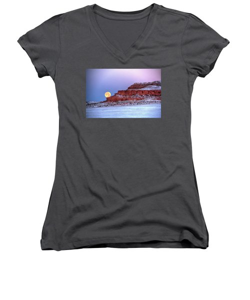 Women's V-Neck featuring the photograph Moon Of The Popping Trees by Fiskr Larsen