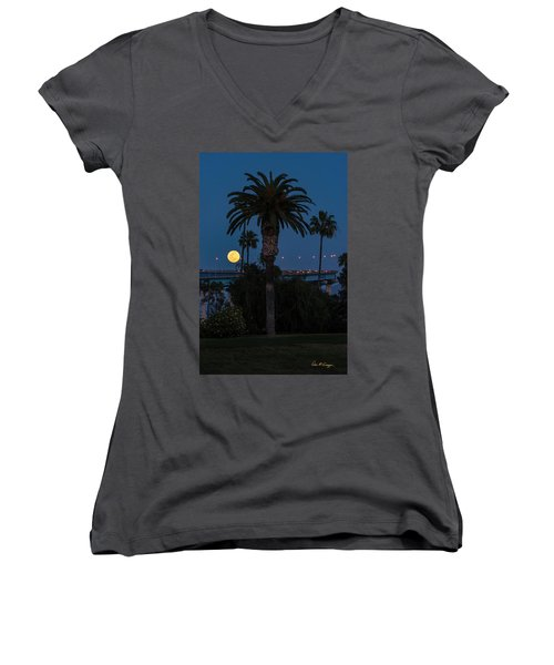 Women's V-Neck (Athletic Fit) featuring the photograph Moon On The Rise by Dan McGeorge