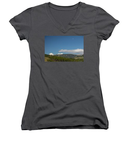 Women's V-Neck T-Shirt featuring the photograph Moon Over Eldora Summer Season Ski Slopes by James BO Insogna