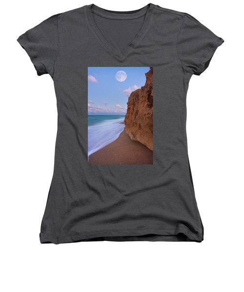Moon Over Hutchinson Island Beach Women's V-Neck T-Shirt (Junior Cut) by Justin Kelefas