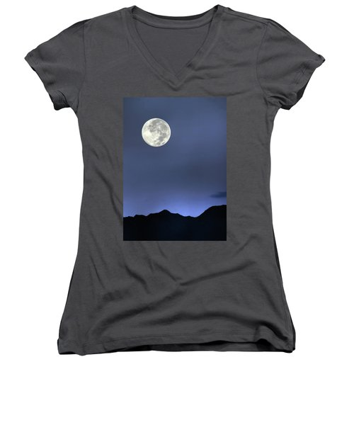 Moon Over Ko'olau Women's V-Neck (Athletic Fit)