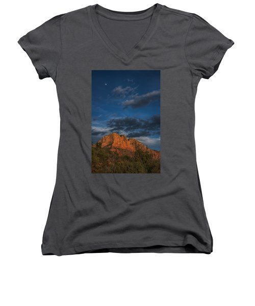 Moon Over Sedona Women's V-Neck (Athletic Fit)