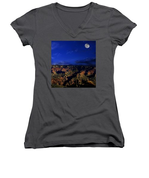 Moon Over The Canyon Women's V-Neck T-Shirt