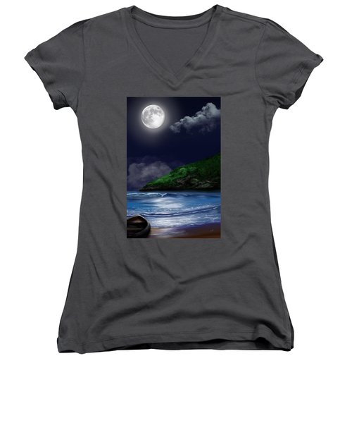 Moon Over The Cove Women's V-Neck (Athletic Fit)