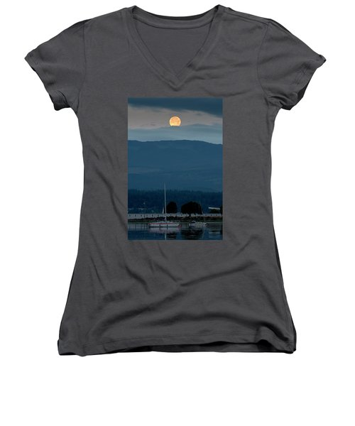 Moon Over The Spit Women's V-Neck (Athletic Fit)